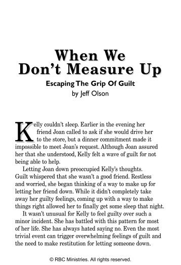 When We Don't Measure Up - Escaping the Grip of ... - RBC Ministries