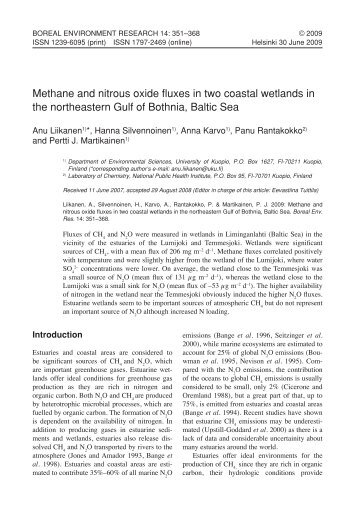 methane and nitrous oxide fluxes in two coastal wetlands in the ...