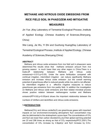 METHANE AND NITROUS OXIDE EMISSIONS FROM RICE FIELD ...