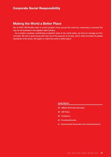 Corporate Social Responsibility - Fast Retailing