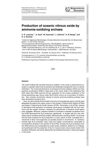 Production of oceanic nitrous oxide by ammonia-oxidizing ... - BGD