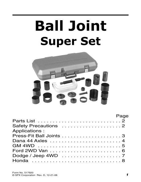 HONDA LOWER BALL JOINT TOOL OTC 314425 314426 314427 314428