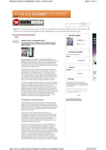 Digital werben im Shopping Center, werbewoche.ch vom - Mediabox