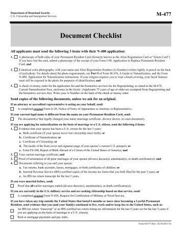 new With document checklist uscis