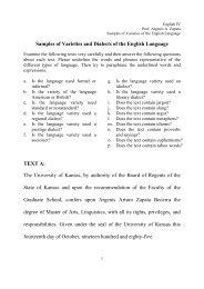 Samples of Varieties of the English Language - Web del Profesor