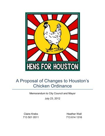 A Proposal of Changes to Houston's Chicken Ordinance