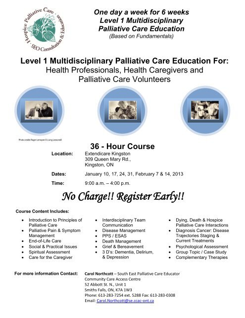 No Charge!! Register Early!! - Southeastern Ontario