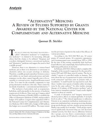 Download the article - The Scientific Review of Alternative Medicine