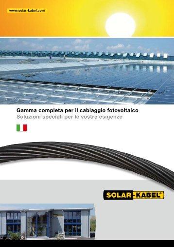 Gamma completa per il cablaggio fotovoltaico ... - Solar-Kabel