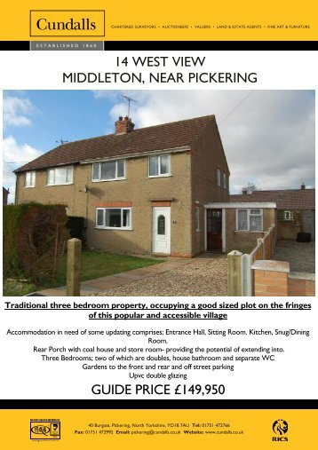 14 west view middleton, near pickering guide price ... - Cundalls