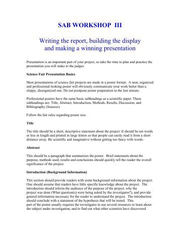 Workshop 3: How to make a winning presentation