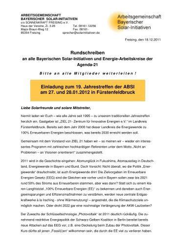 Rundbrief und Eiladung/Treffen Bay. Solarinitiativen