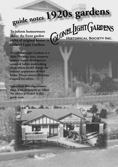 Clg Garden Guide Notes Indd Colonel Light Gardens Historical