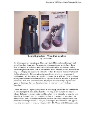 CN Report: 100mm Binoculars - What Can You See - Cloudy Nights