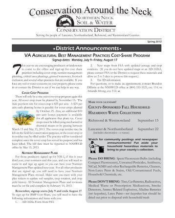 Spring 2012 Newsletter - Northern Neck Soil and Water Conservation