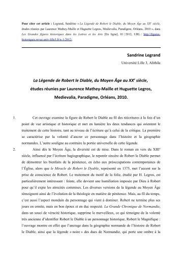La Légende de Robert le Diable, du Moyen Âge au XXe siècle ...