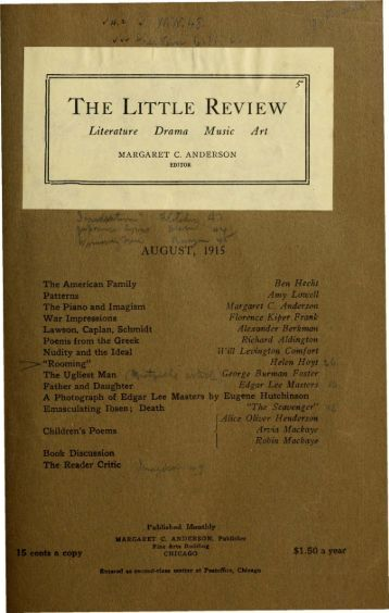 The Little Review. Vol. 2, No. 5. (August, 1915). - the CDI home page.