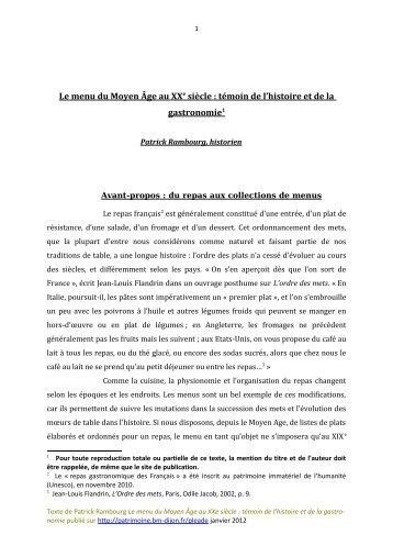 Le menu du Moyen Âge au XXe siècle - Bibliothèque municipale de ...