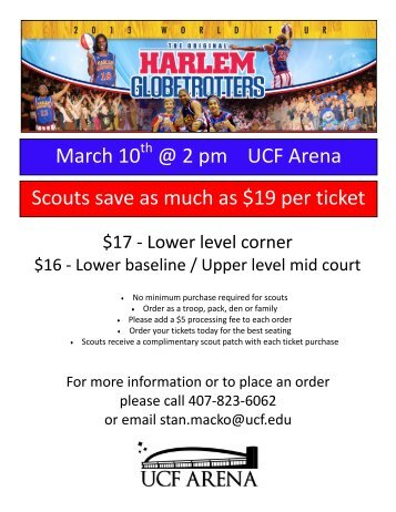 March 10 @ 2 pm UCF Arena Scouts save as much as $19 per ticket