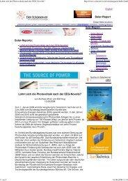 Lohnt sich die Photovoltaik nach der EEG-Novelle? - SolarServer