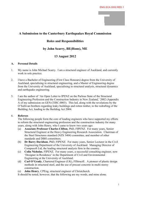 John Scarry Engineering - Canterbury Earthquakes Royal