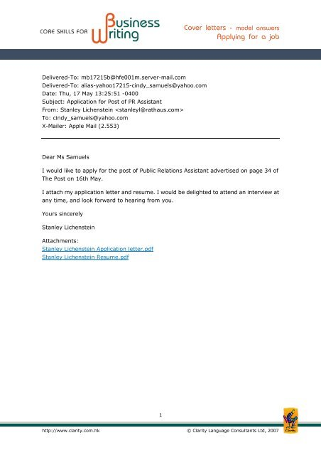 Cover letters - model answers Applying for a job - Clarity ...
