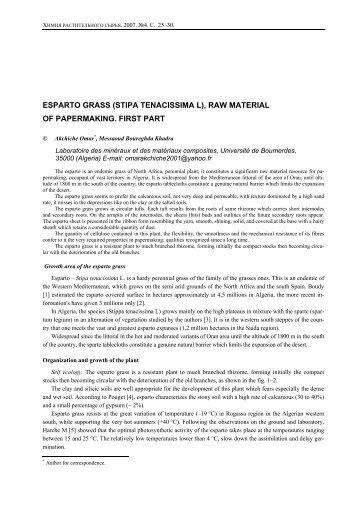 ESPARTO GRASS (STIPA TENACISSIMA L), RAW MATERIAL OF ...