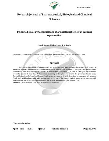 Research Journal of Pharmaceutical, Biological and Chemical ...