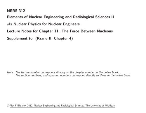 NERS 312 Elements Of Nuclear Engineering And Radiological