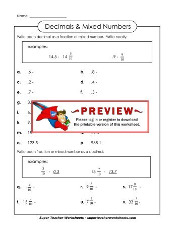math worksheet : writing decimals as mixed numbers worksheets  quiz worksheet  : Mixed Number To Decimal Worksheet