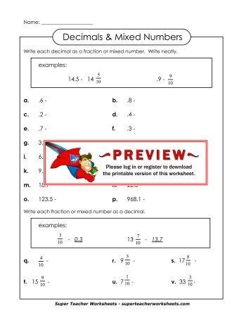 Super Teacher Worksheets Decimals - 127 best math super teacher...