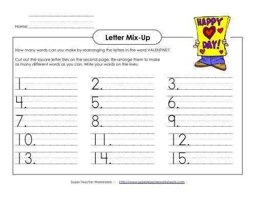 valentine 39 s day letter mix up primary super teacher worksheets. Black Bedroom Furniture Sets. Home Design Ideas