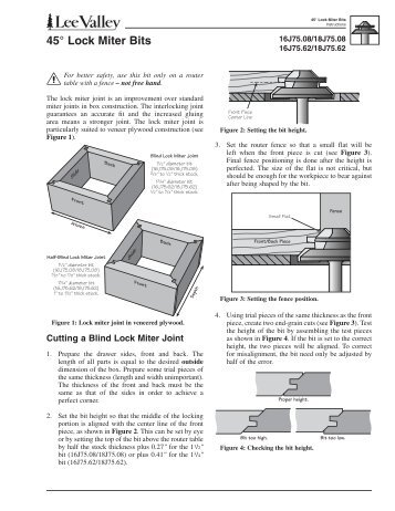 45° Lock Miter Bits - Lee Valley Tools