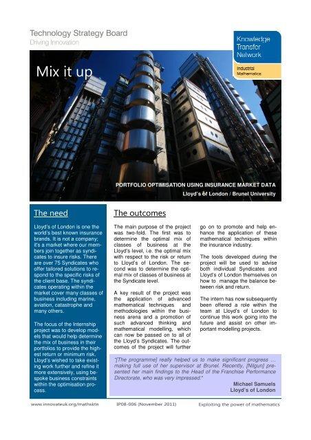 Mix it up (PDF, 2 75Mb) - Maths Careers