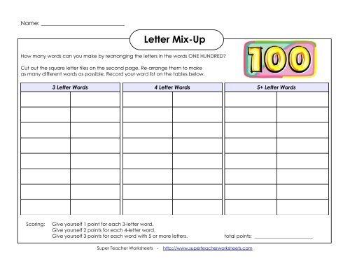 Hundred Days of School Letter Mix-Up - Super Teacher Worksheets