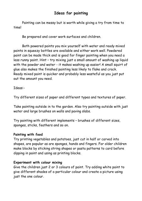 Ideas for painting (PDF) - Hopscotch playgroup