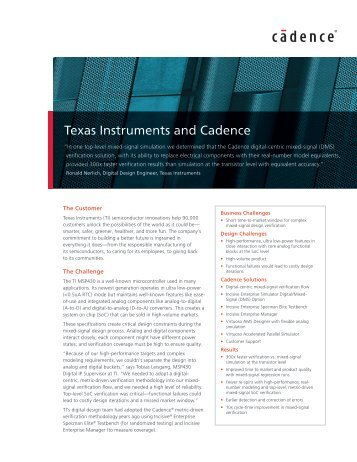 Texas Instruments and Cadence - Cadence Design Systems