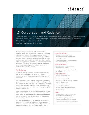 LSI Corporation and Cadence - Cadence Design Systems