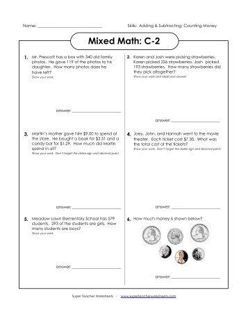 Mixed Math C 1 Super Teacher Worksheets