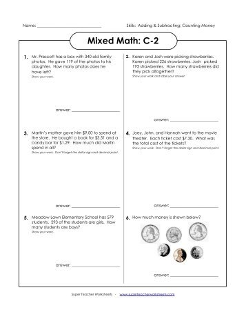 math worksheet : mixed math c 1  super teacher worksheets : Super Teachers Worksheets Math