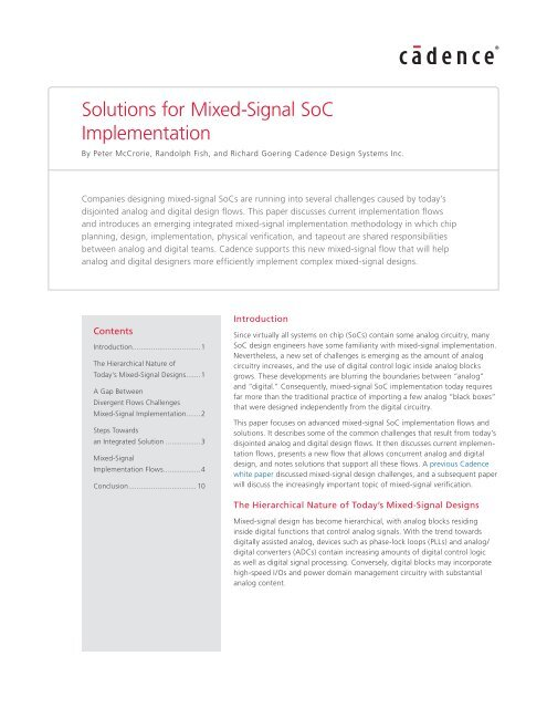 Solutions for Mixed-Signal SoC Implementation - Cadence