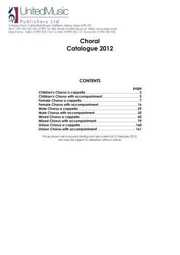 Choral Catalogue 2012 - United Music Publishers