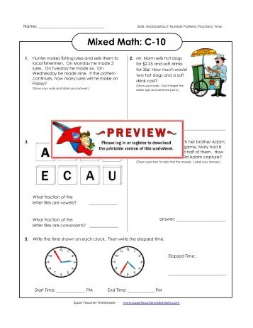 6th Math Name________________ Investigation 1 Worksheet ...