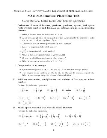 Corrective mathematics comprehensive placement test reading msu mathematics placement test computational skills topics and fandeluxe Choice Image