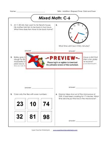 math worksheet : mixed math c 1  super teacher worksheets : Super Teacher Worksheets Addition And Subtraction