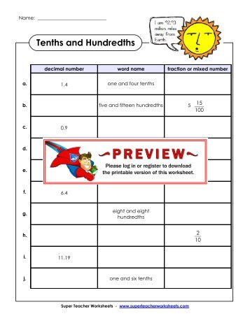 Tenths and Hundredths - Super Teacher Worksheets