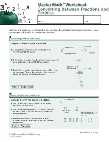 Converting Between Fractions and Decimals - American Technical ...