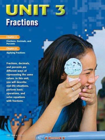 Chapter 5: Fractions, Decimals, and Percents