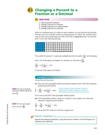 Changing a Percent to a Fraction or a Decimal - McGraw-Hill