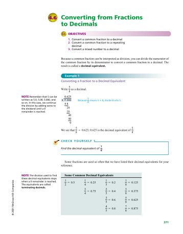Converting from Fractions to Decimals 4.6 - McGraw-Hill